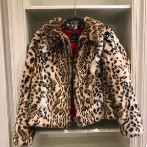 Express Womens Faux Fur Leopard Print Jacket